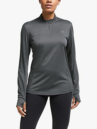 adidas Own The Run 1/2 Zip Long Sleeve Running Top, Grey Six
