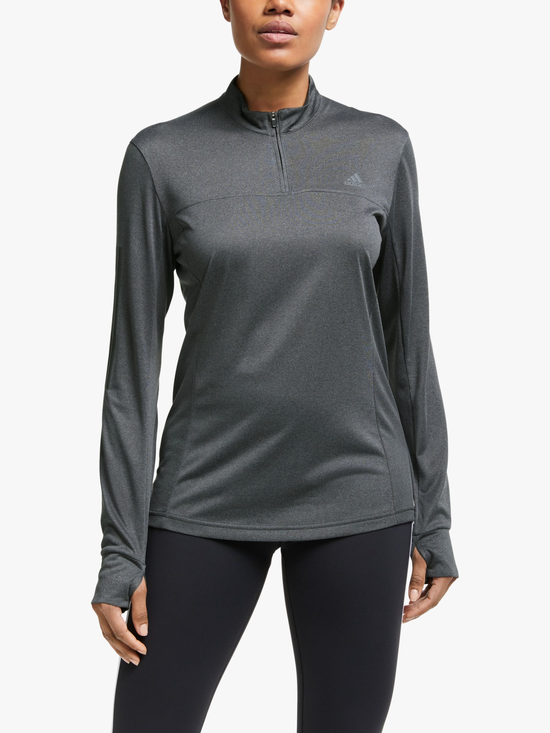 Adidas adidas Own The Run 1/2 Zip Long Sleeve Running Top, Grey Six