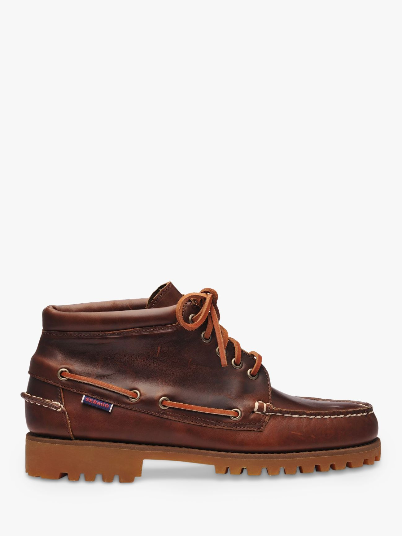 Sebago Sebago Campsides Ranger Mid Leather Moccasin Boots, Brown Gum