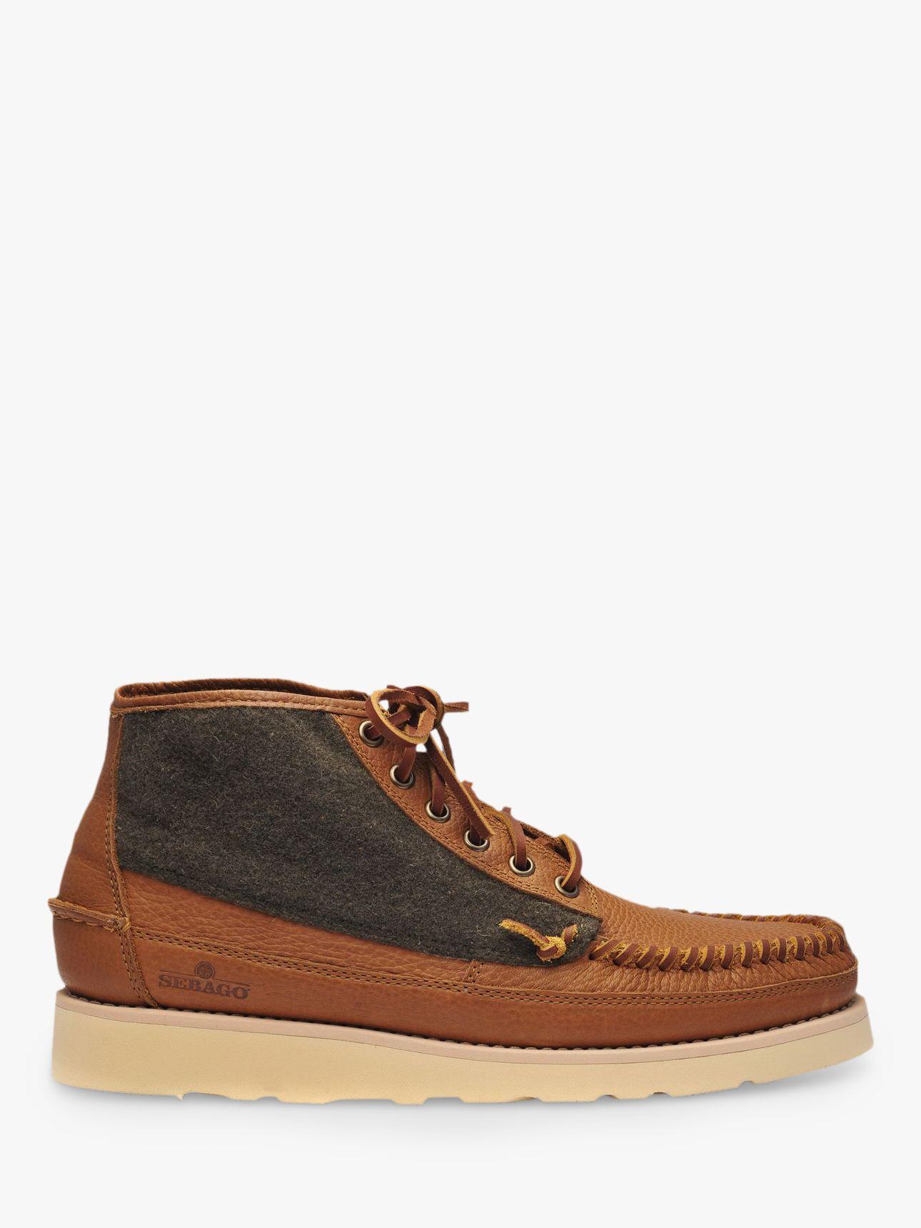 Sebago Sebago Campsides Seneca Mid Wool Moccasin Boots, Brown/Green