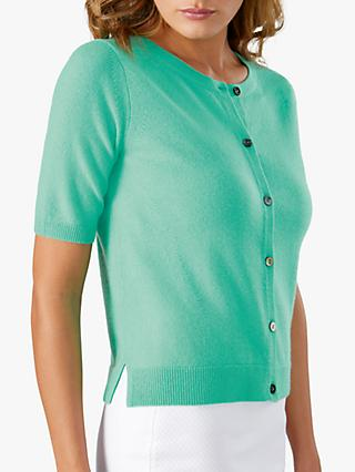 Pure Collection Cashmere Short Sleeve Cardigan, Spring Jade