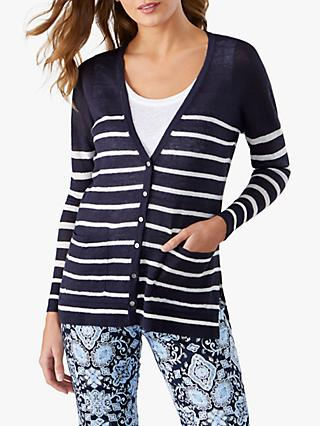 Pure Collection Linen Stripe Cardigan, Navy