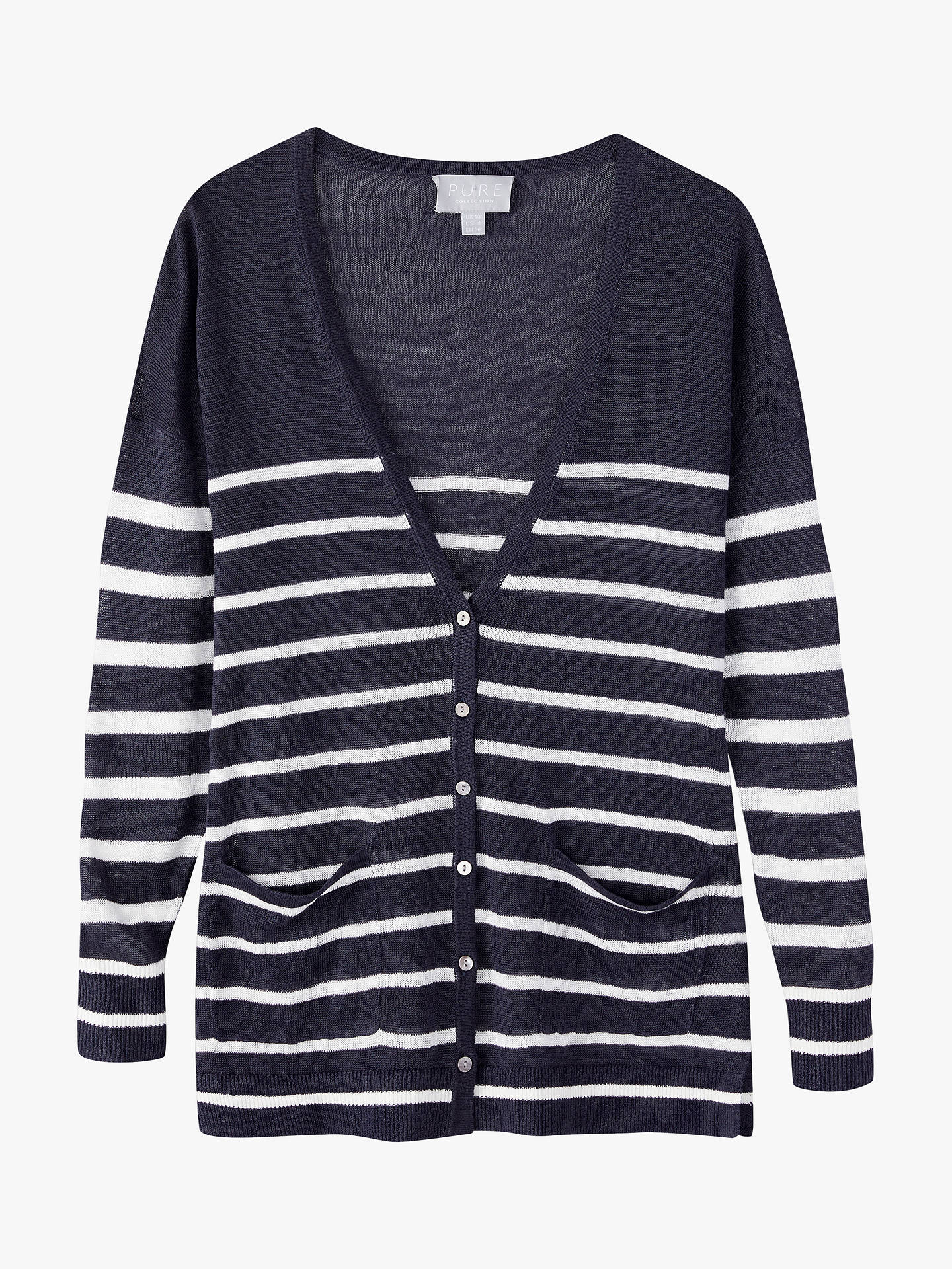 Buy Pure Collection Linen Stripe Cardigan, Navy, 8 Online at johnlewis.com