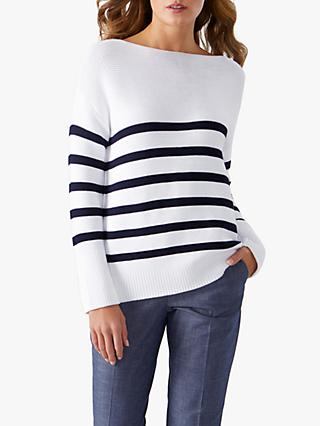 Pure Collection Cotton Boat Neck Sweater, White/Navy Stripe
