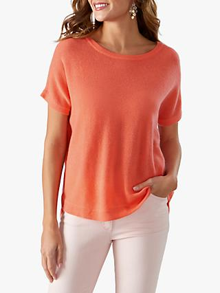Pure Collection Gassato Cashmere Curved Hem T-Shirt, Spring Coral