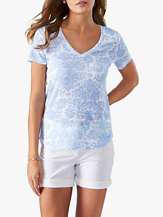 Pure Collection Ornate Tile Print Linen Jersey T-Shirt, White/Blue