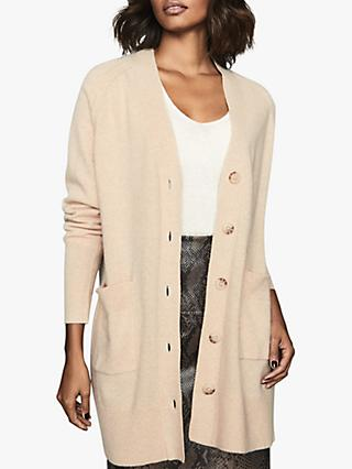 Reiss Rhea Wool and Cashmere Long Cardigan, Camel