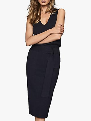 Reiss Amber Knitted Tie Waist Midi Dress, Navy
