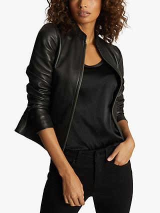 Reiss Allie Leather Biker Jacket, Black