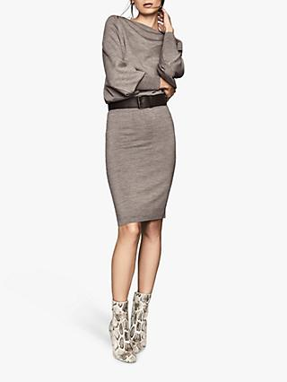 Reiss Mitzy Long Sleeve Knitted Dress, Grey