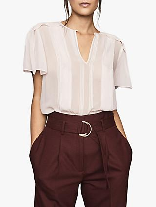 Reiss Millie Sheer Pleated Blouse