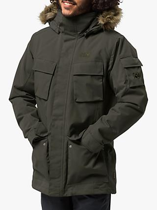 Jack Wolfskin Glacier Canyon Insulated Men's Waterproof Parka, Dark Moss