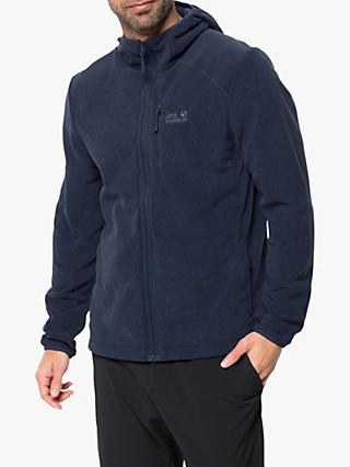 Jack Wolfskin Skywind Men's Zip-Up Hooded Fleece, Night Blue