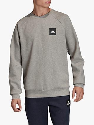 adidas Must Haves Stadium Crew Sweatshirt, Medium Grey Heather