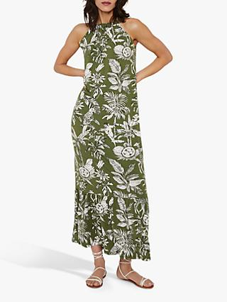 Warehouse Jungle Print Halter Neck Maxi Dress, Khaki