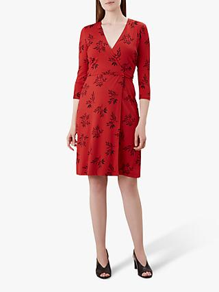 Hobbs Delilah Floral Wrap Dress, Red/Multi