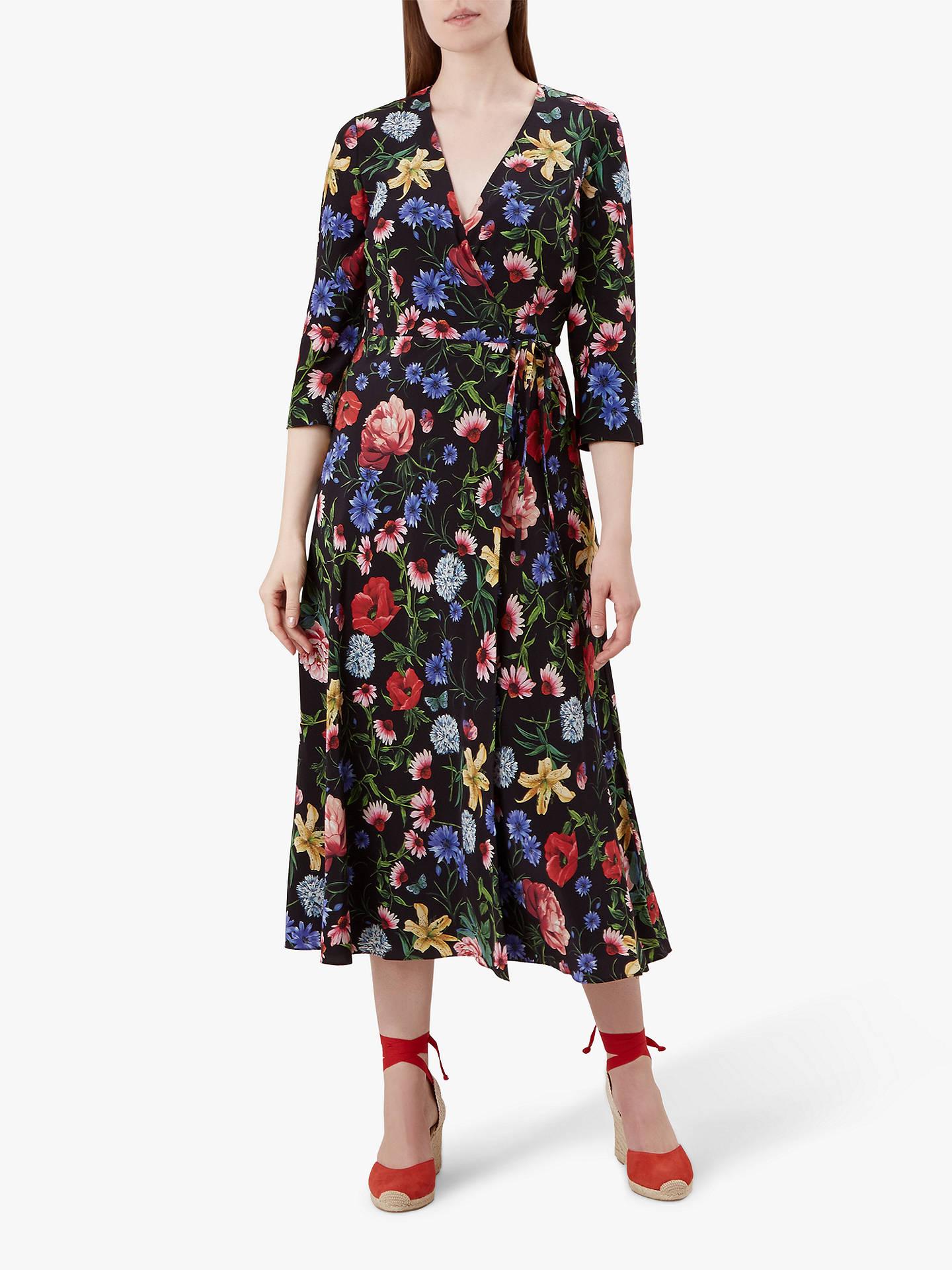 58fa401bf749b Hobbs Chelsea Wrap Floral Silk Dress, Black/Multi