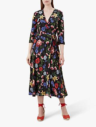 Hobbs Chelsea Wrap Floral Silk Dress, Black/Multi