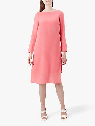 Hobbs Edie Side Tie Silk Dress, Pink