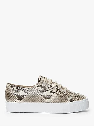 Superga 2730 Snake Print Flatform Trainers, Natural