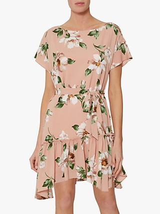 Gina Bacconi Istra Floral Pebble Georgette Dress, Blush