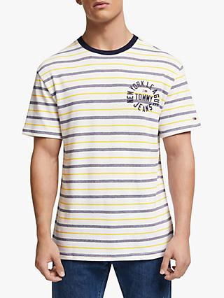 Tommy Jeans Chest Logo Stripe T-Shirt, Classic White/Multi