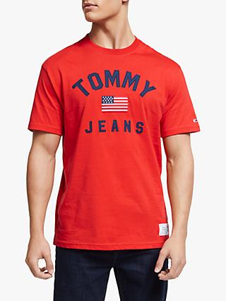 Tommy Jeans USA Flag Logo T-Shirt, Flame Scarlet
