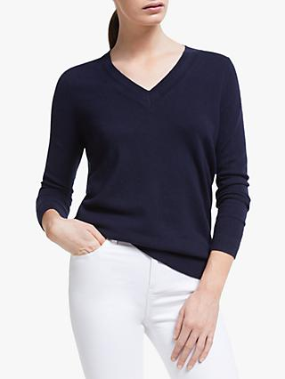 Boden Cashmere Relaxed V-Neck Jumper, Navy