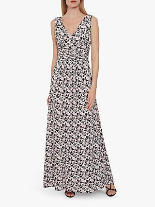 Gina Bacconi Kelina Geometric Maxi Dress, Pinky Grey