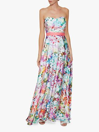 Gina Bacconi Esmira Satin Floral Maxi Dress, Multi