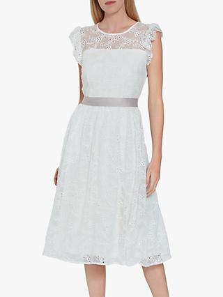 Gina Bacconi Maliana Embroidered Chiffon Dress, Ivory