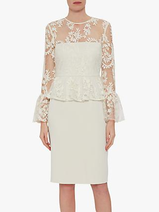 a15d8d895c3b6 Gina Bacconi Shelly Lace and Crepe Dress, Butter Cream