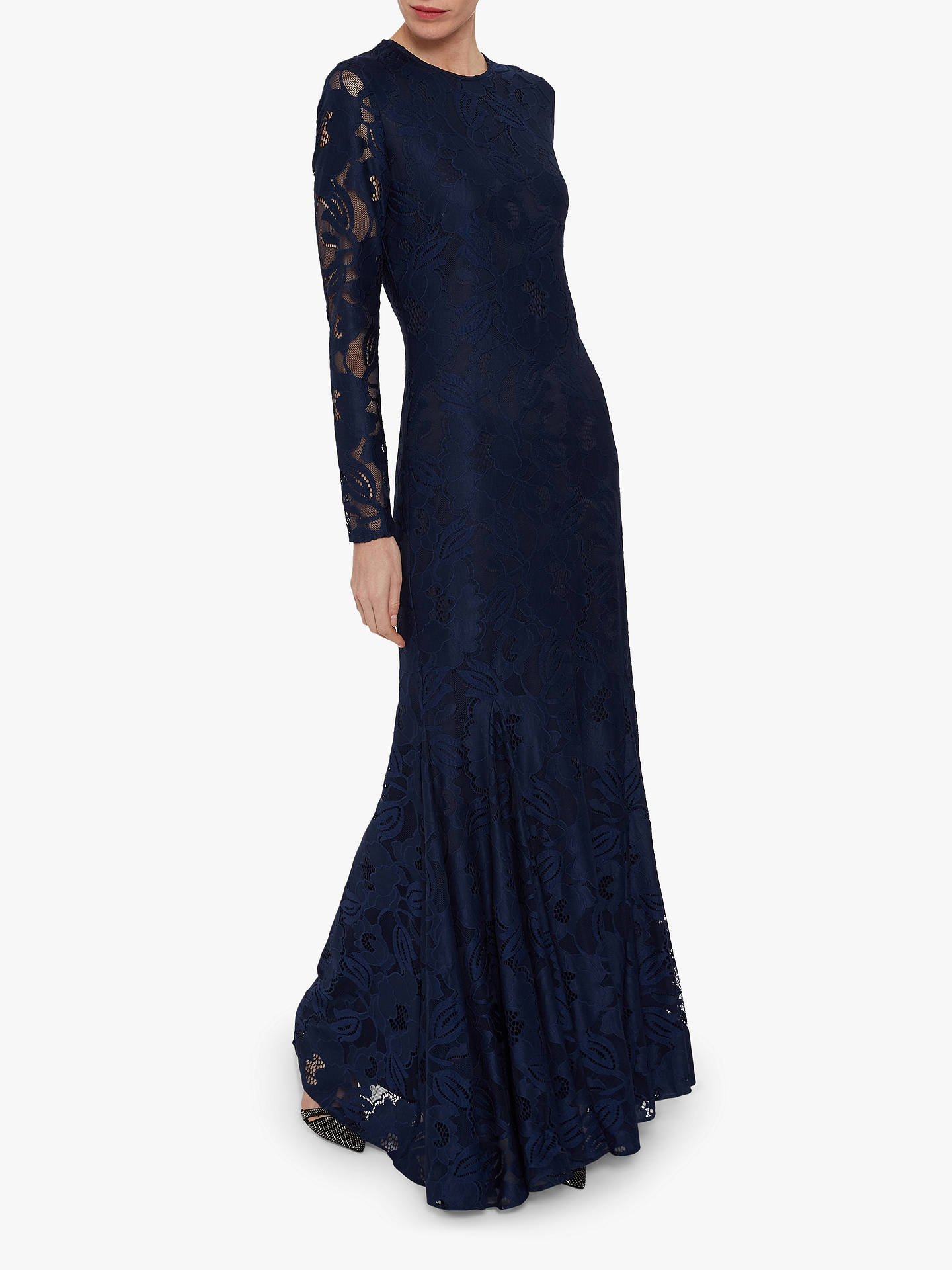 Buy Gina Bacconi April Stretch Lace Maxi Dress, Navy, 12 Online at johnlewis.com
