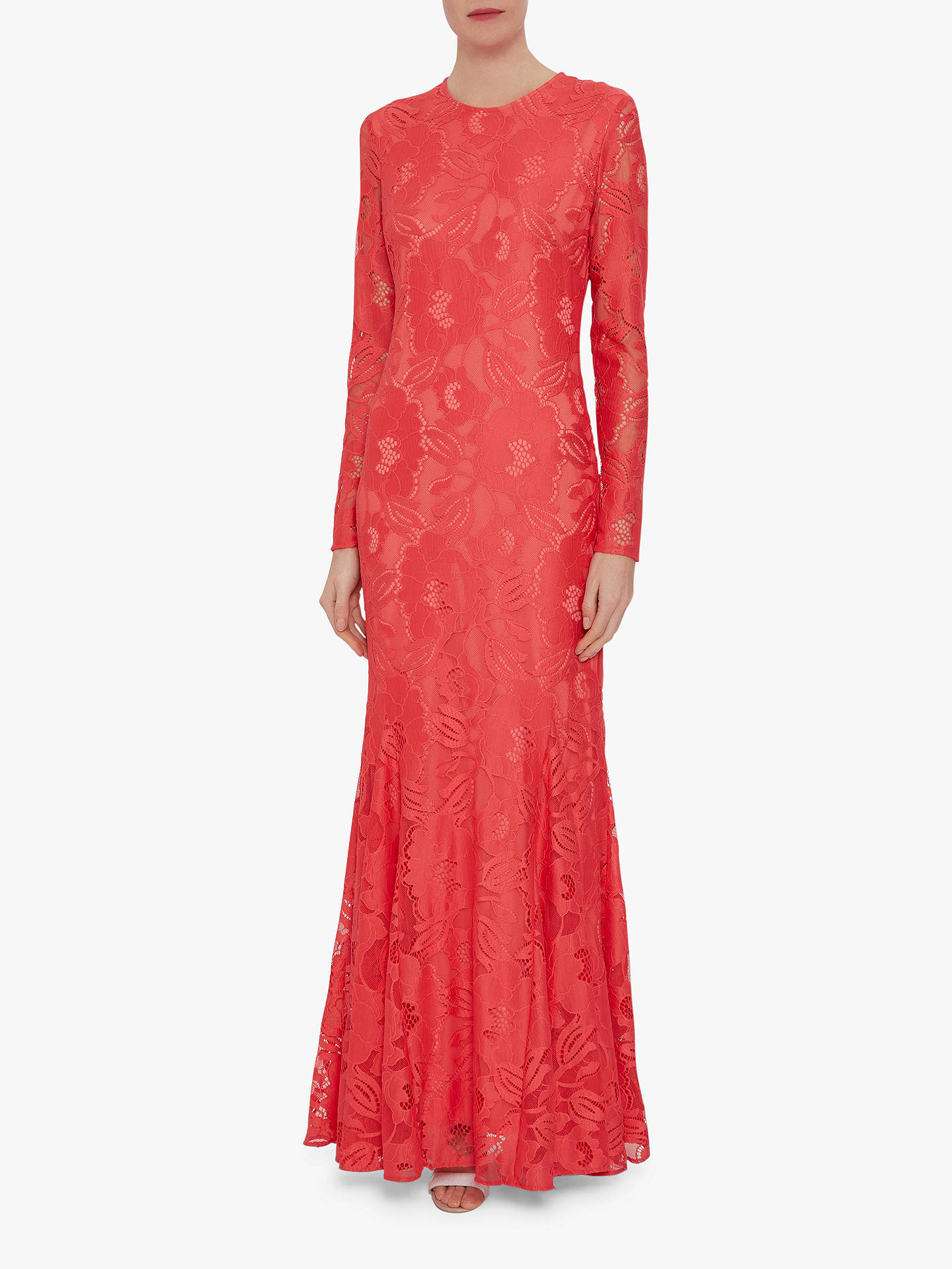 Buy Gina Bacconi April Stretch Lace Maxi Dress, Coral, 22 Online at johnlewis.com