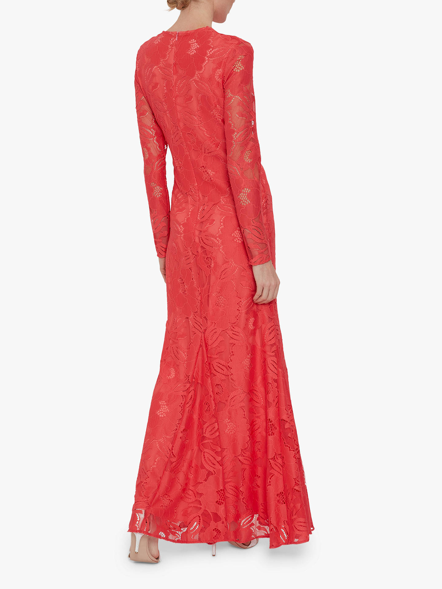 Buy Gina Bacconi April Stretch Lace Maxi Dress, Coral, 10 Online at johnlewis.com