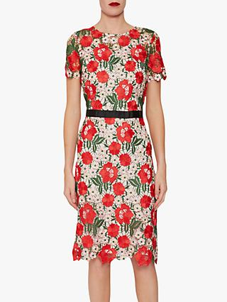 Gina Bacconi Melita Guipure Lace Dress, Red
