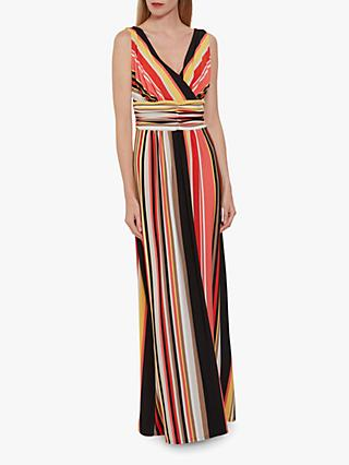 Gina Bacconi Ramella Striped Maxi Dress, Coral/Black