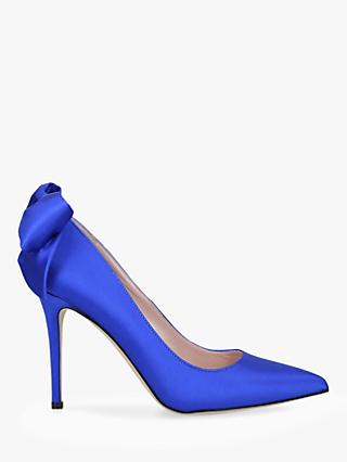 SJP by Sarah Jessica Parker Lucille Bow Detail Stiletto Heel Satin Court Shoes, Blue