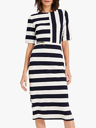 Phase Eight Maryanne Stripe Ponte Dress, Navy/Ivory