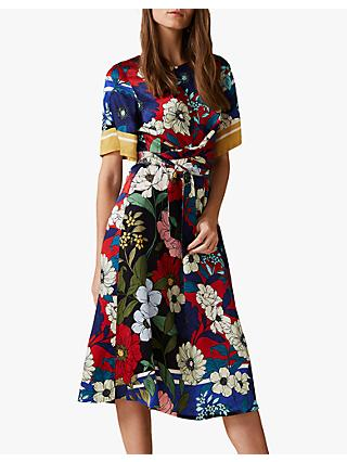 Phase Eight Margot Floral Satin Dress, Navy/Multi