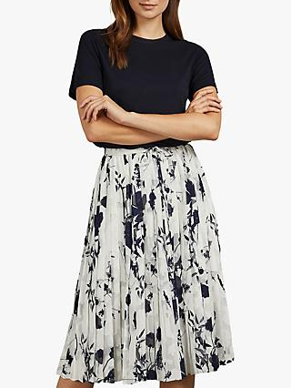 Ted Baker Bekzi Floral Pleated Midi Dress, Navy
