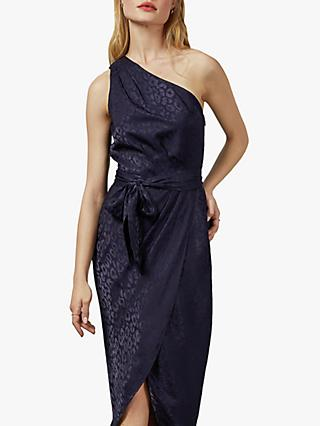 Ted Baker Zoeii Leopard Print Bow Detail Asymmetric Dress, Navy