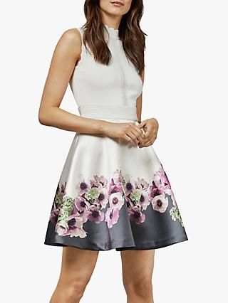 Ted Baker Janyis Floral Dress, Natural Ivory