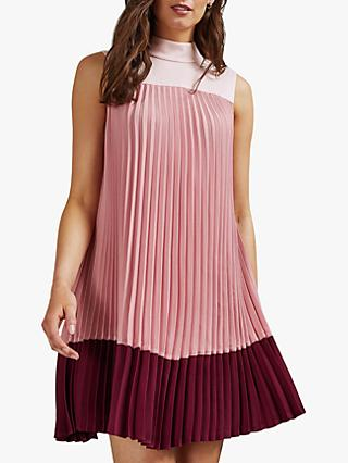 Ted Baker Ombraya Knife Pleat Colour Block Dress, Blush/Bordeaux