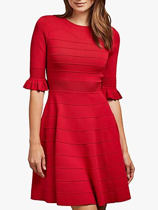Ted Baker Dyana Ruffle Detail Flared Mini Dress, Red