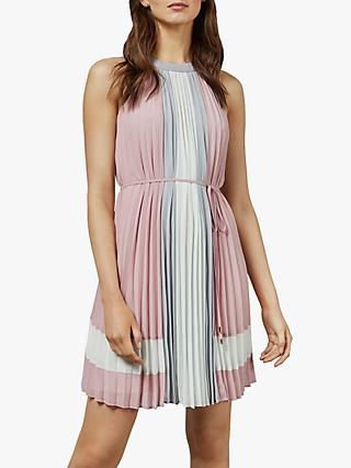 Ted Baker Lellian Pleated Stripe Dress, Light Pink