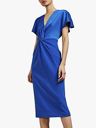 Ted Baker Ellame Wrap Over Full Sleeve Bodycon, Bright Blue