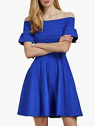 Ted Baker Criptum Bardot Frill Knitted Skater Dress