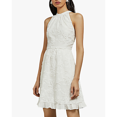 Ted Baker Lorene Halter Neck Embroidered Dress, White