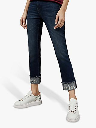 Ted Baker Pralina Embroidered Daisy Jeans, Dark Blue